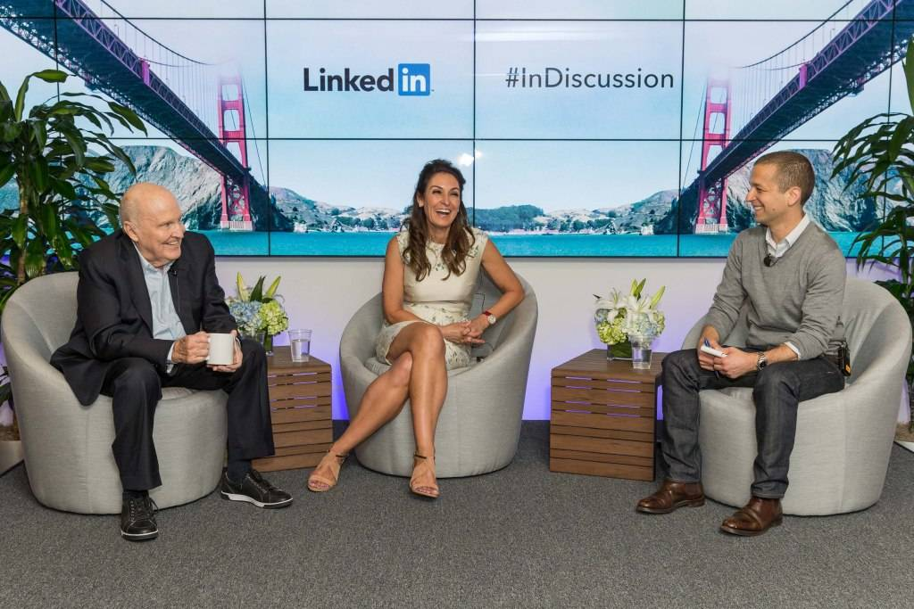 Jack Welch and Suzy Welch with LinkedIn Executive Editor Dan Roth.