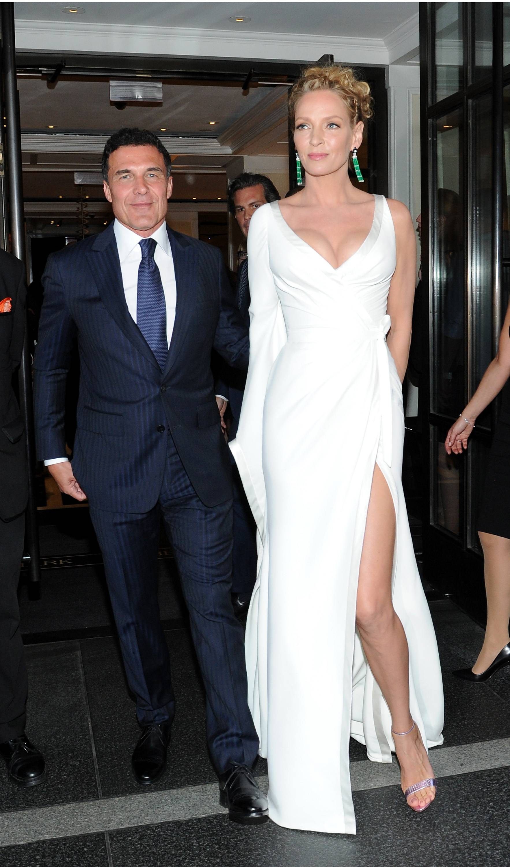 NEW YORK, NY - MAY 04:  Andre Balazs and Uma Thurman depart The Mark Hotel for the Met Gala at the Metropolitan Museum of Art on May 4, 2015 in New York City.  (Photo by Andrew Toth/Getty Images for The Mark Hotel)