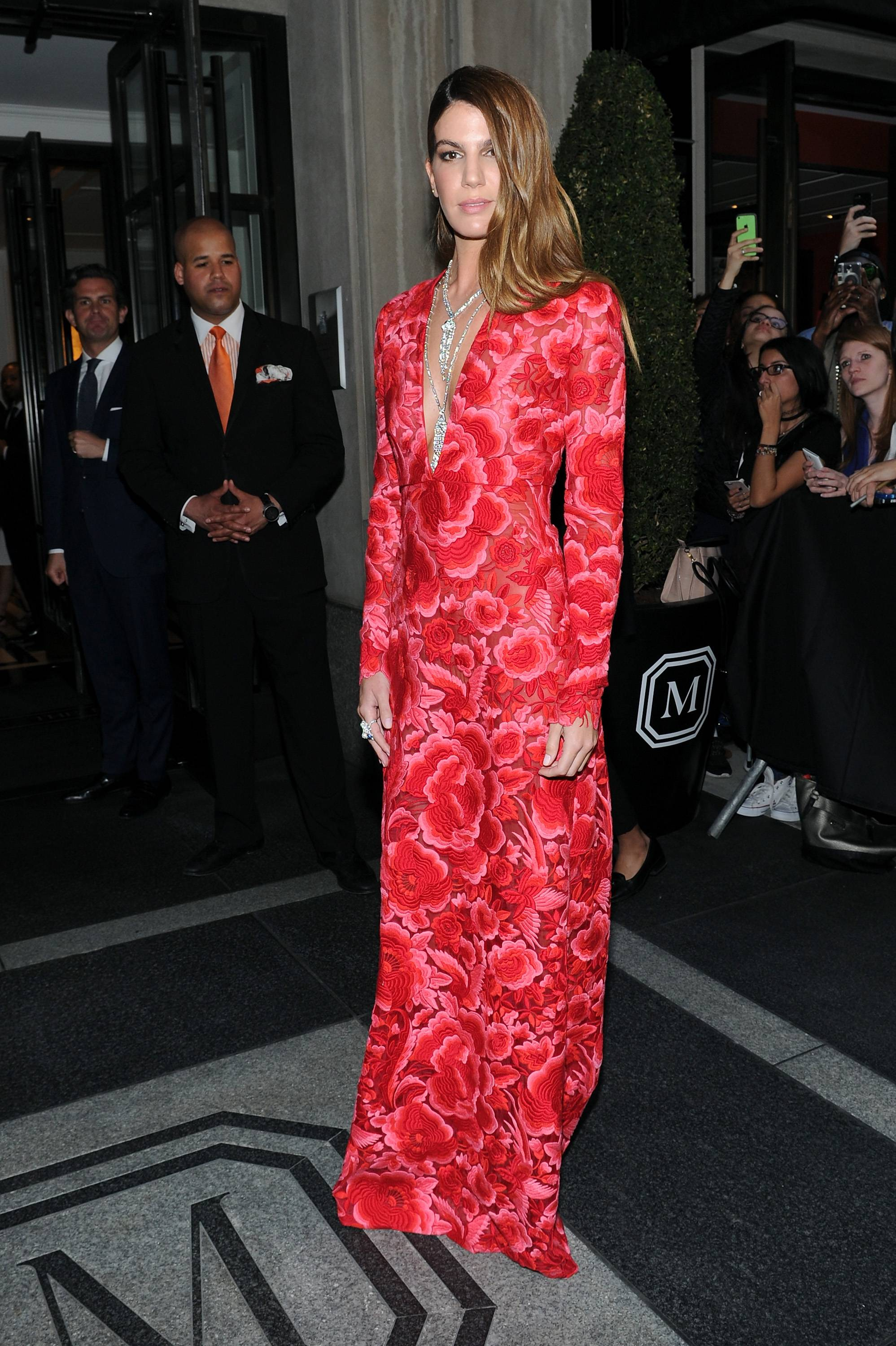 NEW YORK, NY - MAY 04: Bianca Brandolini departs The Mark Hotel for the Met Gala at the Metropolitan Museum of Art on May 4, 2015 in New York City.  (Photo by Andrew Toth/Getty Images for The Mark Hotel)
