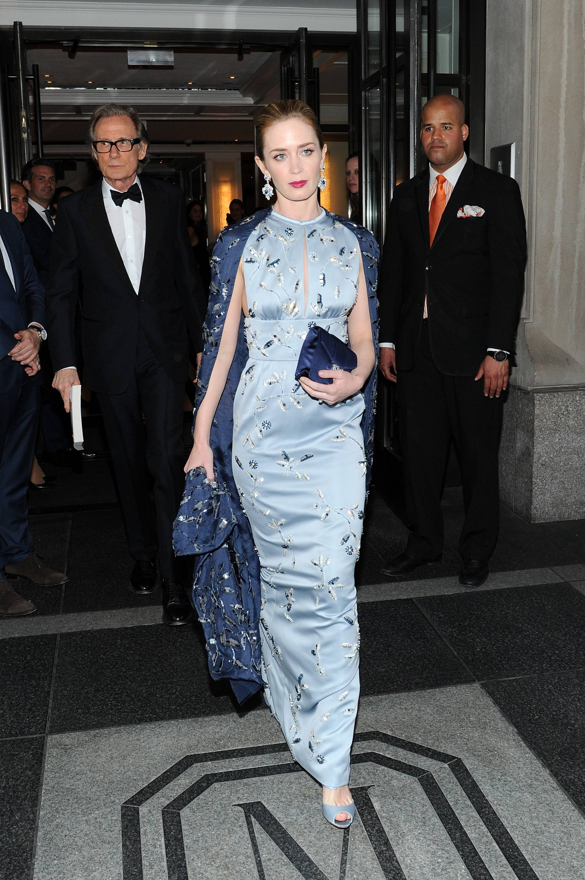 NEW YORK, NY - MAY 04:  Emily Blunt (R) and Bill Nighy depart The Mark Hotel for the Met Gala at the Metropolitan Museum of Art on May 4, 2015 in New York City.  (Photo by Andrew Toth/Getty Images for The Mark Hotel)