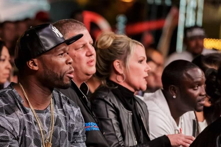50 Cent, Derek Stevens, Nicole Parthum, Akon at Knockout Night at the D; Glen Brogan