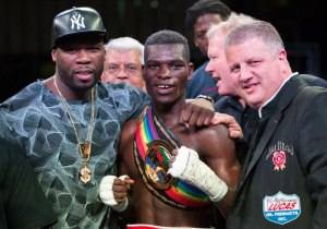 50 Cent, Richard Commey and Derek Stevens at Knockout Night at the D, Photography by Tom Donoghue
