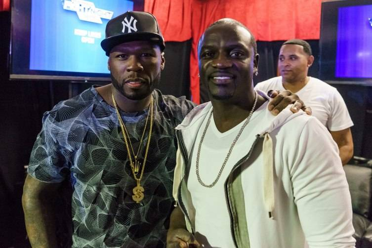 50 Cent and Akon at Knockout Night at the D.