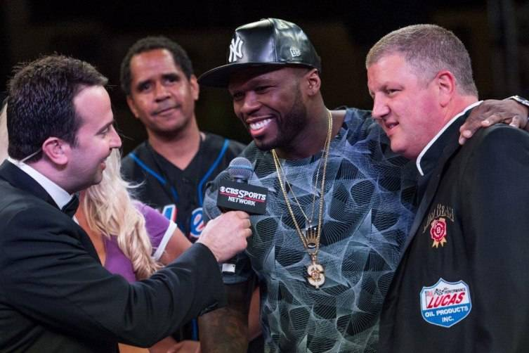 50 Cent and Derek Stevens at Knockout Night at the D, Photography by Tom Donoghue