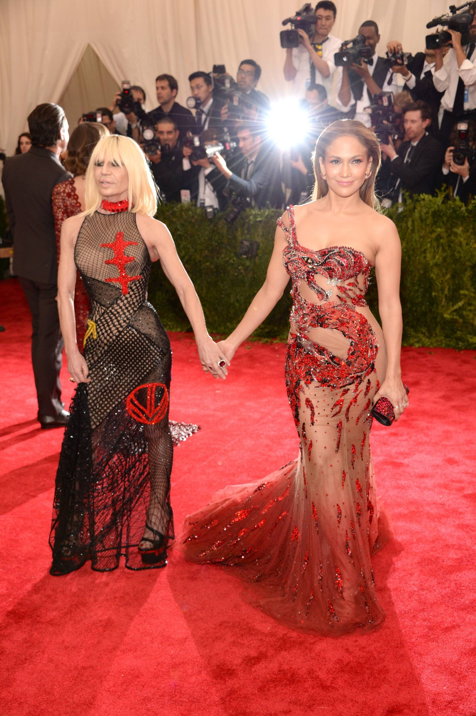 "NEW YORK, NY - MAY 04:  Donatella Versace and Jennifer Lopez attend the ""China: Through The Looking Glass"" Costume Institute Benefit Gala at Metropolitan Museum of Art on May 4, 2015 in New York City.  (Photo by Kevin Mazur/WireImage)"