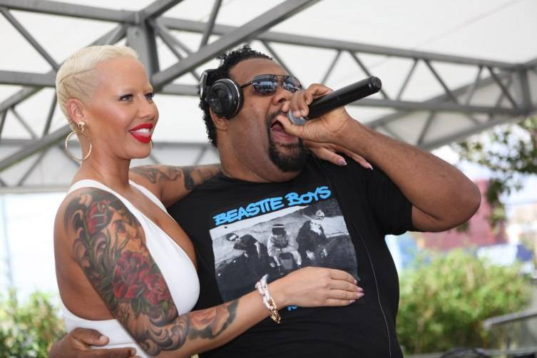 Amber Rose and Fatman Scoop all smiles at Ditch Fridays at Palms Pool & Dayclub.
