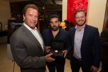 Arnold Schwarzenegger, Haute Living publisher Seth Semilof and Greg Simonian