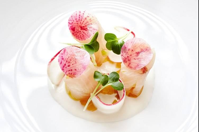 Auberge's Kona Kampachi Crudo, Sesame Crème Fraîche, Cucumber, Radish, Dashi, photo by Trinette Reed