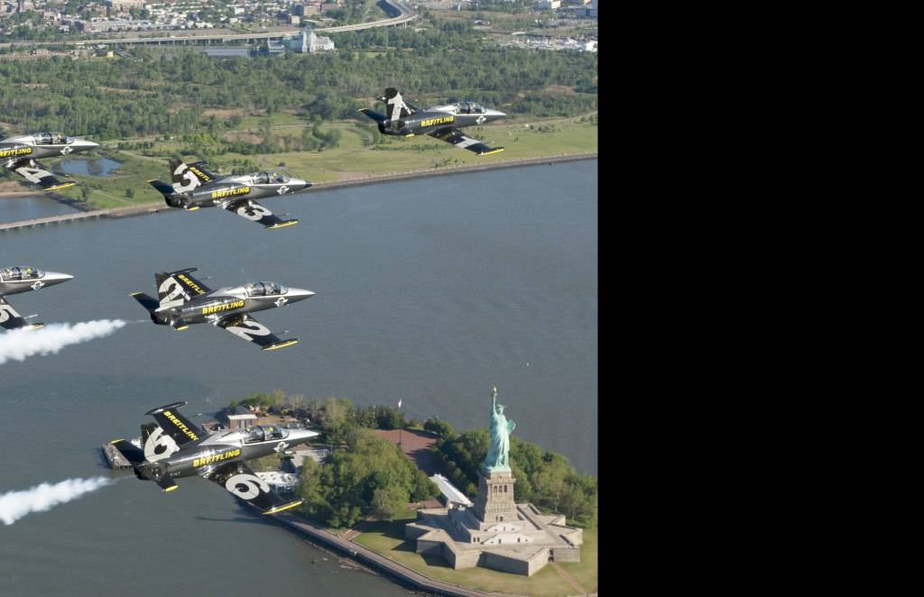 Breitling Jet Team Flies Over Statue of Liberty.