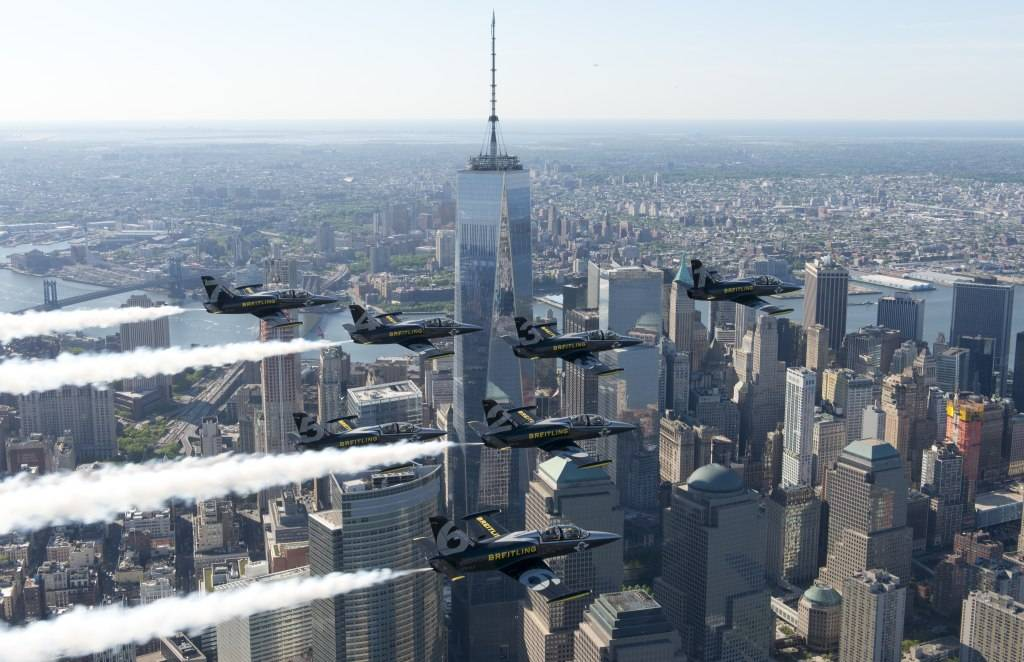 Breitling Jet Team Flies Over World Trade Center.
