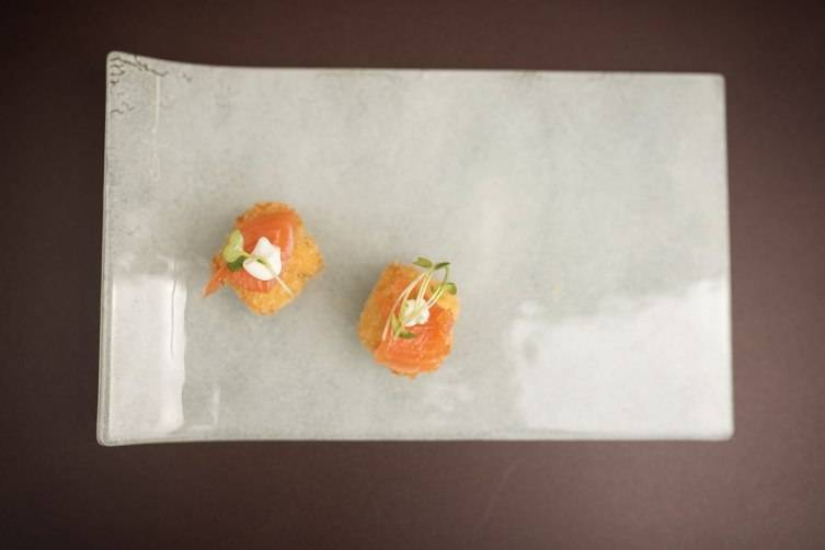 Goat Cheese Risotto with smoked salmon by Market St. Helena