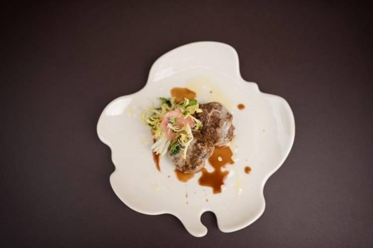 Mark Hopkins Intercontinental's Wild Boar Crepinette, pickled radish salad