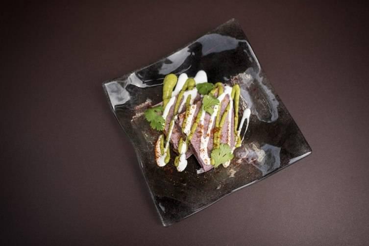 Ancho Chili Roasted Mushroom & Squash Blossom Quesadilla w/Tomatillo Avocado Salsa & Crema by Chef Corrie Beezley and Farmer's Market Pantry