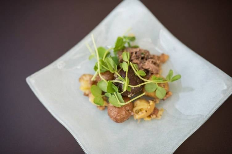 Sous Chef Zack Mutrux's winning dish from PRESS - Braised lamb neck with beef fat potatoes and bacon sherry vinaigrette