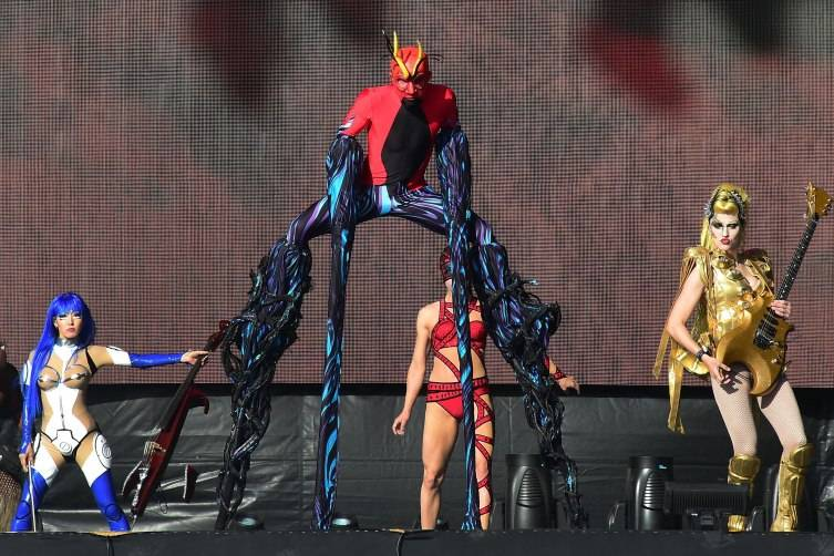 Cirque du Soleil performers entertain concert attendees on the opening day of Rock in Rio.