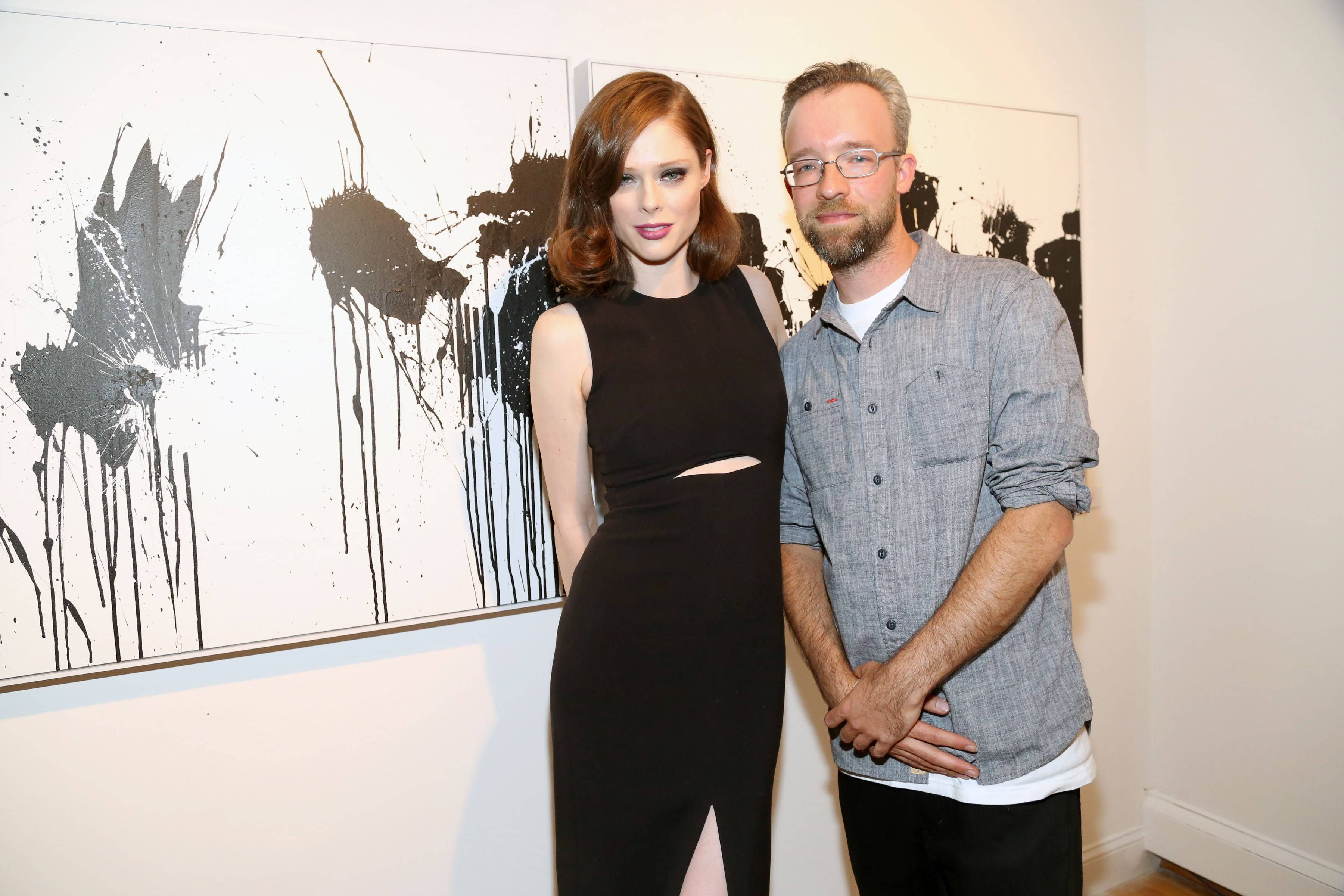 Coco Rocha & Bisco Smith at Soundwall The Connected Canvas Presents 12 by Bisco Smith== Tribeca Soundwall Gallery, 65 Reade Street, NYC.== May 13, 2015== ©Patrick Mcmullan== photo-Sylvain Gaboury/PatrickMcmullan.com== ==