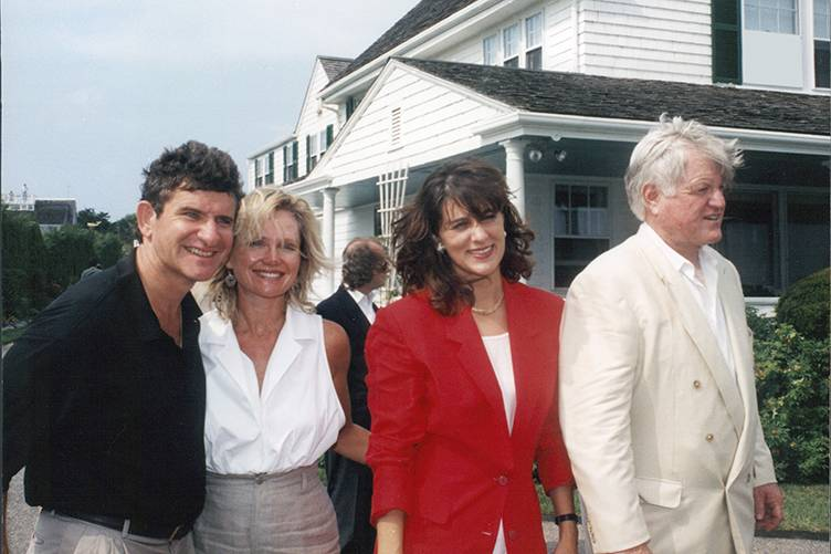 Craig Hall, Kathryn Walt Hall, Vicki Kennedy and Ted Kennedy at the Kennedy Compound on Hyannis Port