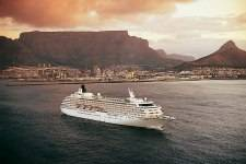 The Crystal Symphony is the older of Crystal Cruises' two ships. Here, it's shown during a stopover in Cape Town, South Africa.
