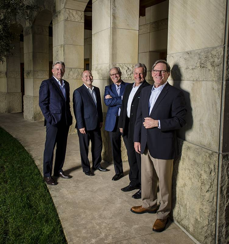 THE DREAM TEAM (From l-r) David Pearson: CEO; Christopher Barefoot: Vice President, Public Relations; Robert Roux: Vice President National Sales and Marketing; Robert Fowles: CFO Michael Silacci: Winemaker (Not pictured—Laurent Delassus: Vice President of International Marketing)