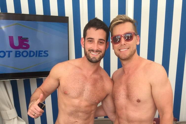 Lance Bass and his husband Michael Turchin party together at Foxtail Pool Club.