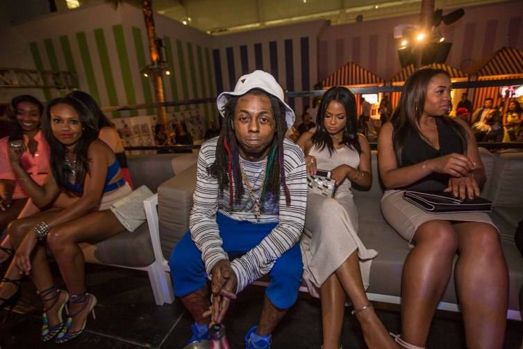Lil Wayne and Christina Milian at their exclusive VIP section inside Foxtail Pool Club_Tony Tran