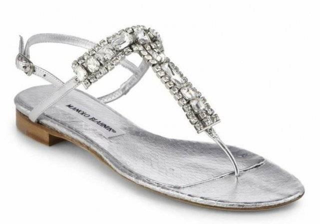 Manolo Blahnik Zanfimod Jeweled Metallic Leather Thong Sandals ($994)