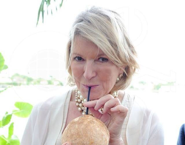 Martha Stewart drinking Coconut Cartel