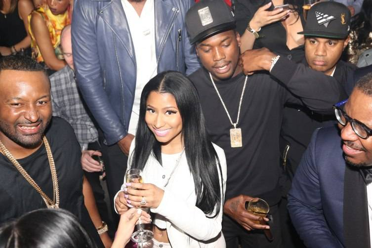 Nicki Minaj and Meek Mill attend D'USSE Presents Fight Weekend At Marquee Las Vegas Hosted By JAY-Z (Photo by Johnny Nunez)-1