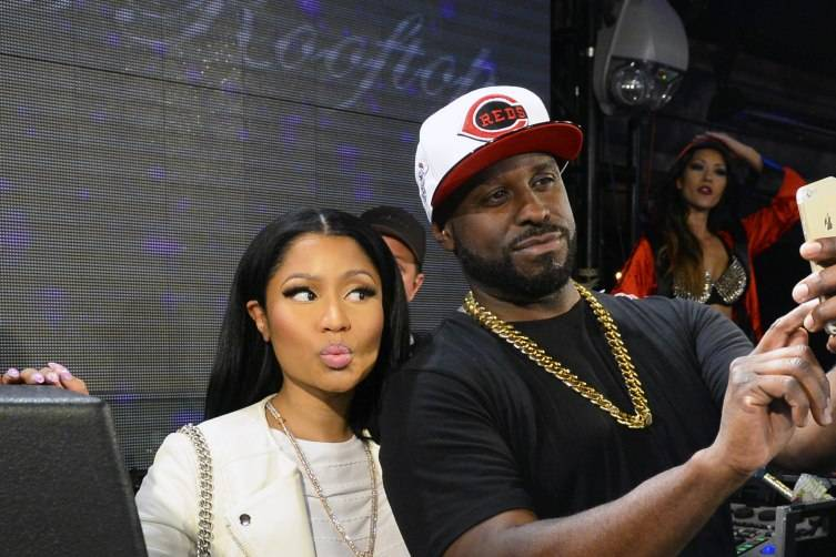 Nicki Minaj with Funkmaster Flex in the DJ booth at Chateau