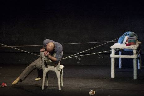 Mikael Chirinian during a performance of La Liste De Mes Envies, which opens May 28 at Centrepoint Theatre in the Dubai Community Theatre Arts Centre.