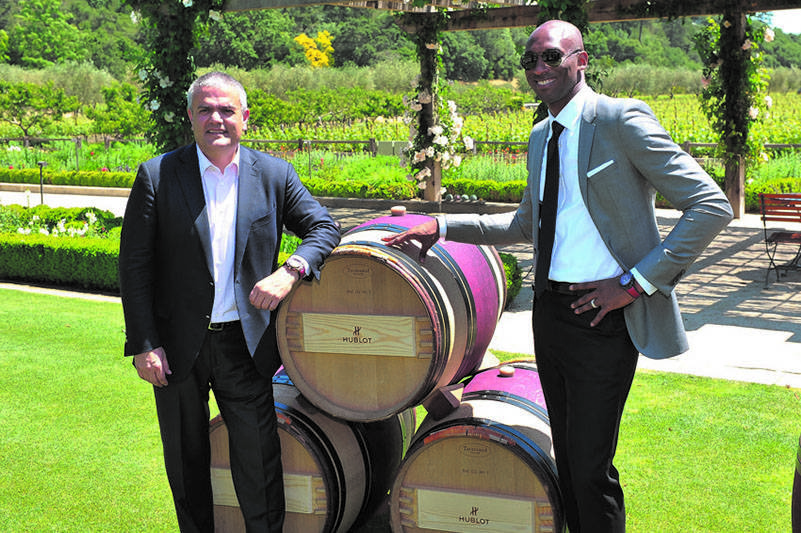 "Hublot CEO Ricardo Guadalupe and  Kobe Bryant at the ""Vino"" unveiling , photo by Dave Alvarez"