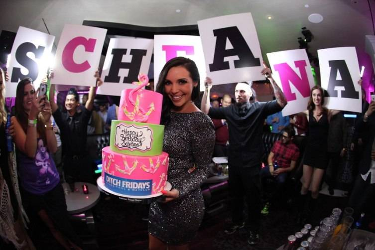 Scheana Marie all smiles during cake presentation at Ghostbar_Joe Fury