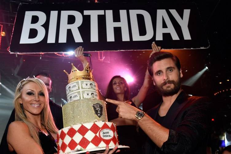 Television personality Scott Disick (right) attends his birthday celebration at 1 OAK Nightclub.