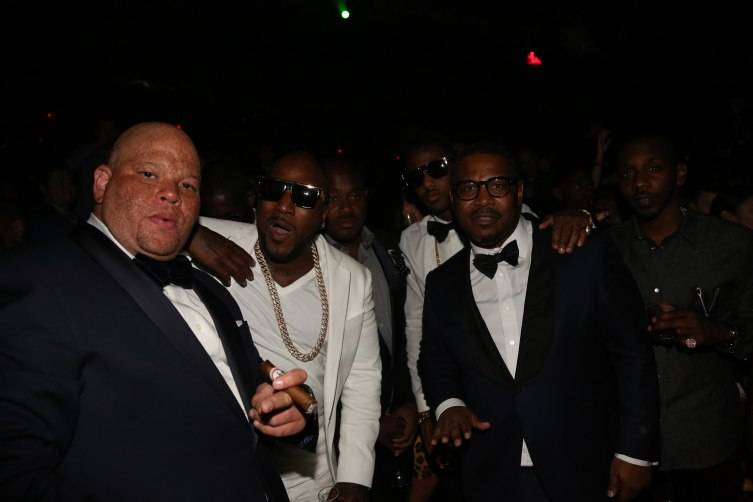 Shawn 'Pecas' Costner, Young Jeezy, Steve Stoute, Fabolous, and Emory Jones attend D'USSE Presents Fight Weekend At Marquee Las Vegas Hosted By JAY-Z (photo by Johnny Nunez)-1