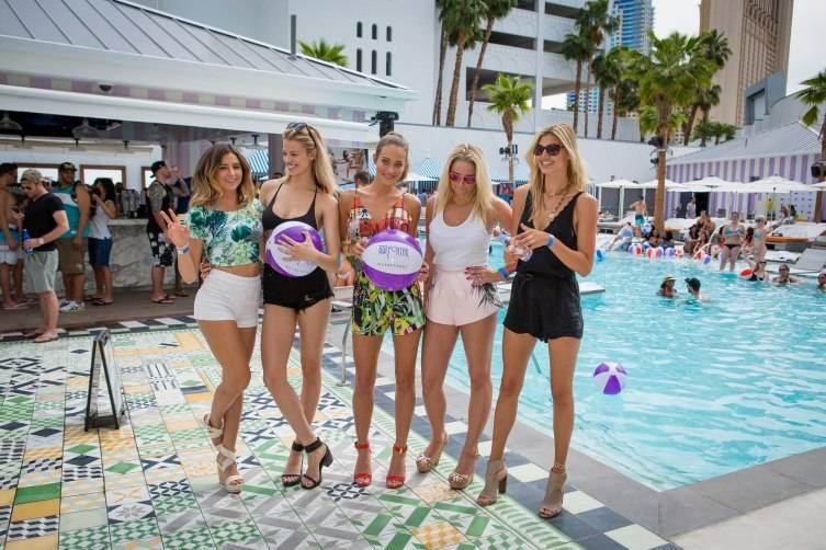 Sports Illustrated models Anastasia Ashley, Hailey Clauson, Hannah Davis, Genevieve Morton and Kelly Rohrbach at Foxtail Pool Club
