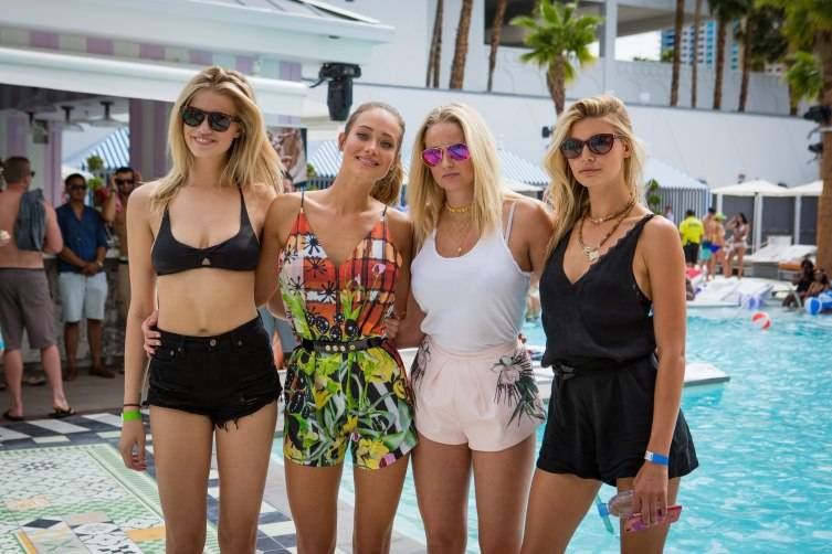 Sports Illustrated models Hailey Clauson, Hannah Davis, Genevieve Morton and Kelly Rohrbach at Foxtail Pool Club