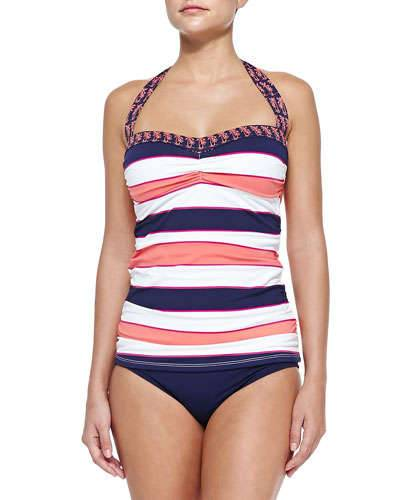 Tommy Bahama Striped/Printed Halter Tankini Top & Hipster Swim Bottom