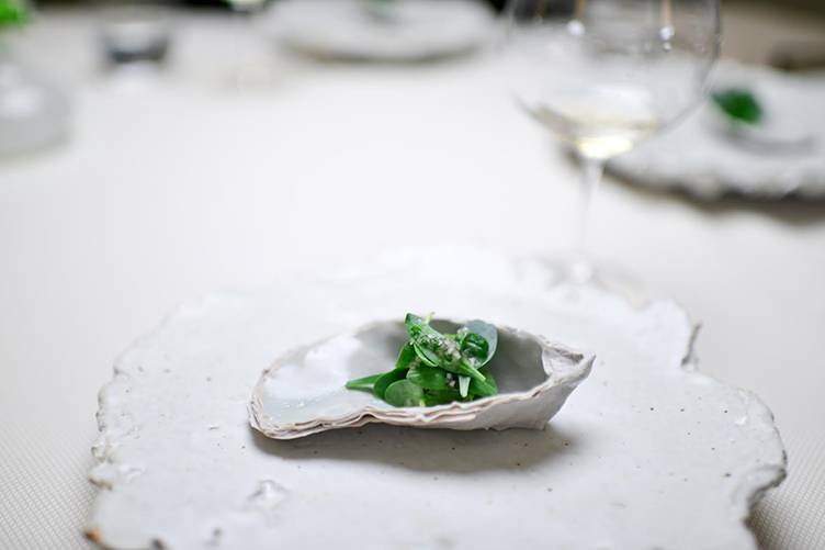 The Restaurant at Meadowood_borage oyster leaf mignonette, photo by Bonjwing Lee