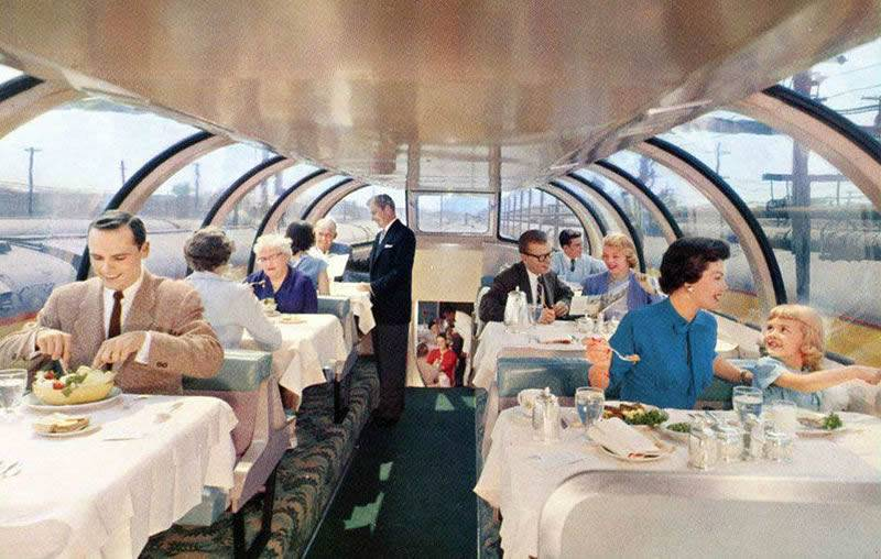 In the 1950s, travelers enjoy dinner with a view.