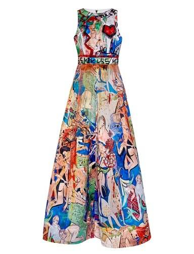 Alice + Olivia gown hand-painted by Domingo Zapata, 2015