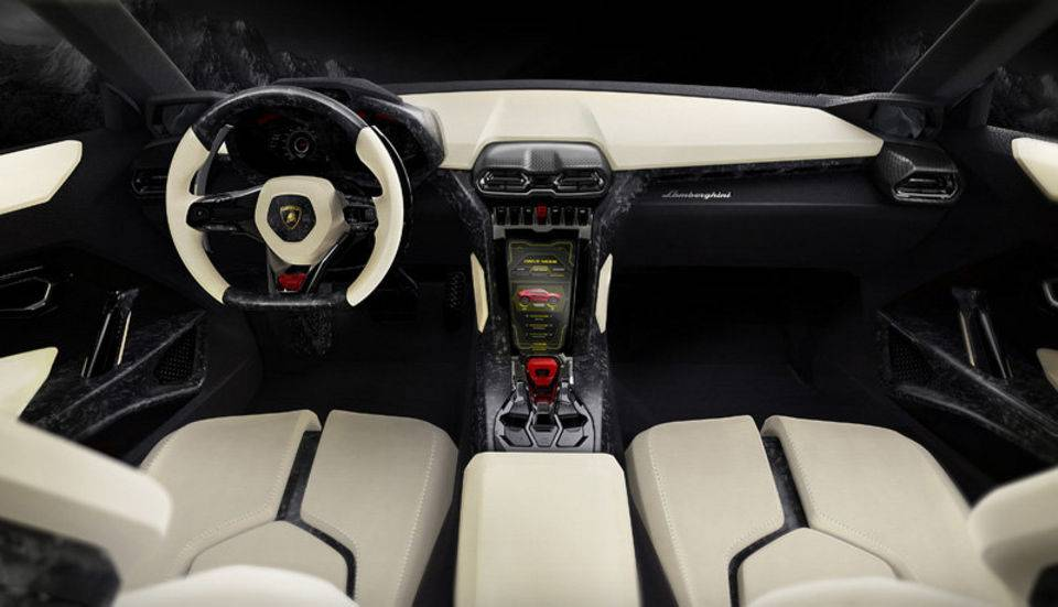 Interior of the Lamborghini Urus concept SUV presented at the Beijing auto show in 2012. (Courtesy image/Lamborghini)