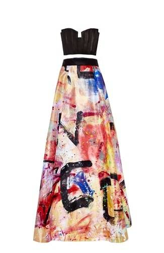 Alice + Olivia strapless bustier and ball skirt hand-painted By Domingo Zapata, 2015