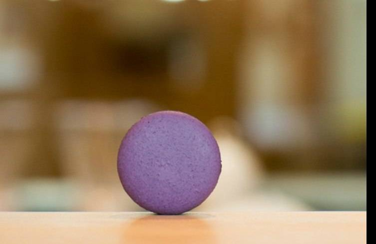 The Violet and Black Currant Macaron from Joy Macarons.