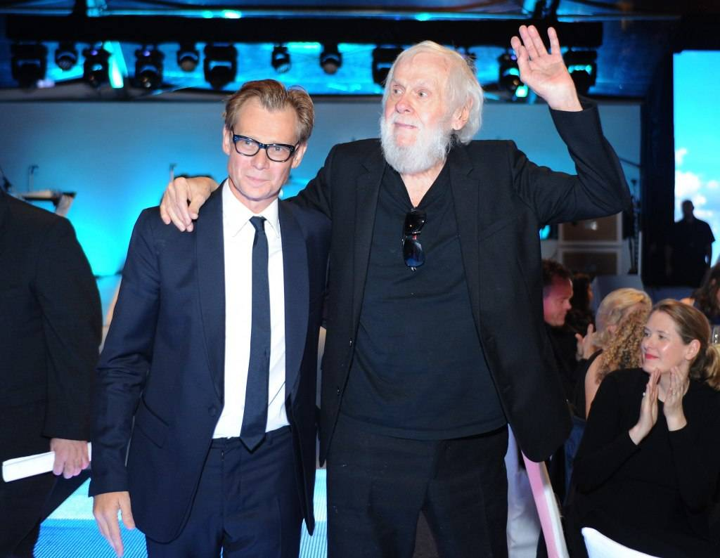 MOCA Director Philippe Vergne (L) and honoree John Baldessari