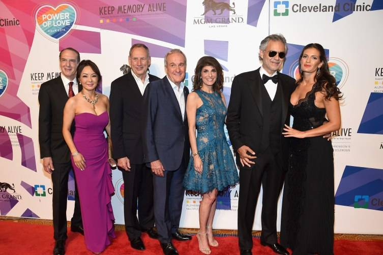 """(L-R) Dr. Jeffrey Cummings and Dr. Kate Zong from Cleveland Clinic Lou Ruvo Center for Brain Health, Cleveland Clinic CEO Toby Cosgrove, Keep Memory Alive Founder Larry Ruvo, Keep Memory Alive Co-Founder and Vice Chairman Camille Ruvo and honorees Andrea Bocelli and Veronica Bocelli attend the 19th annual Keep Memory Alive """"Power of Love Gala"""" benefit for the Cleveland Clinic Lou Ruvo Center for Brain Health honoring Andrea Bocelli and Veronica Bocelli at MGM Grand Garden Arena."""