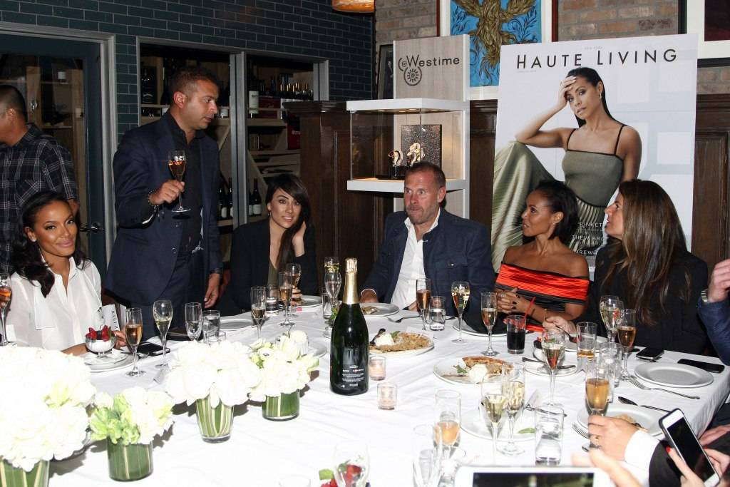 Haute Living publisher Kamal Hotchandai toasts Jada Pinkett Smith with model Selita Ebanks, Tina Thadani, photographer Don Flood and Karynne Tencer