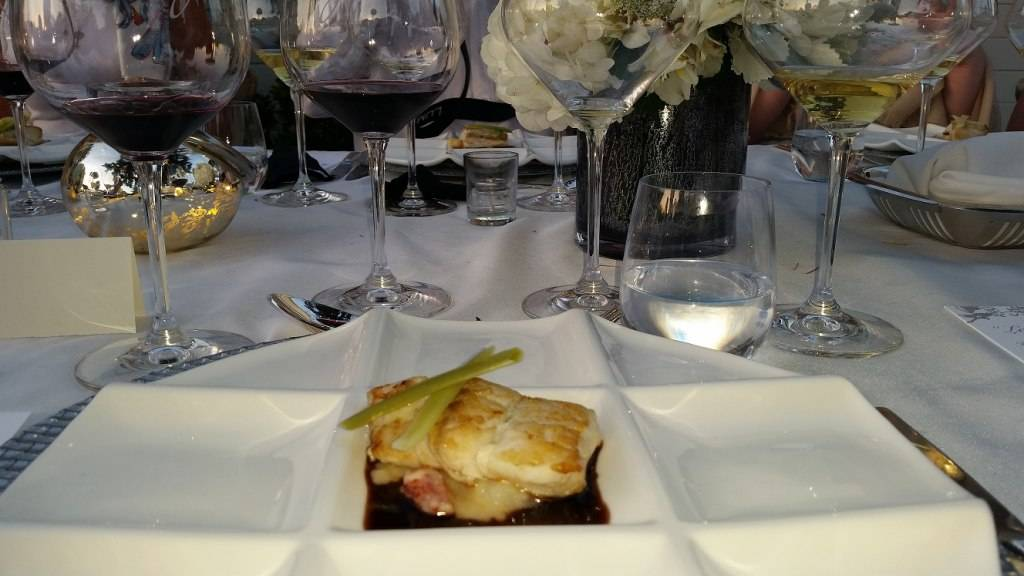 Alaskan Halibut with Lobster Crushed Potatoes and Red Wine