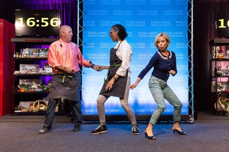 Andrew Zimmern, Carla Hall and Sissy Biggers at the Classic Cook-off