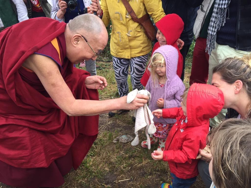 Dalai Lama attends the Glastonbury Festival.