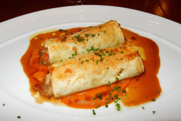 Cannelloni di Coniglio (Baked pasta with rabbit-heirloom tomato conserva)